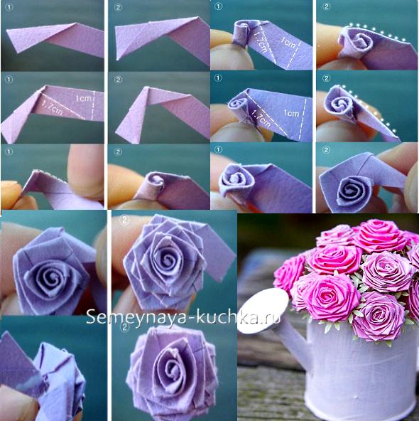 Роза из бумаги своими руками маленькие 55
