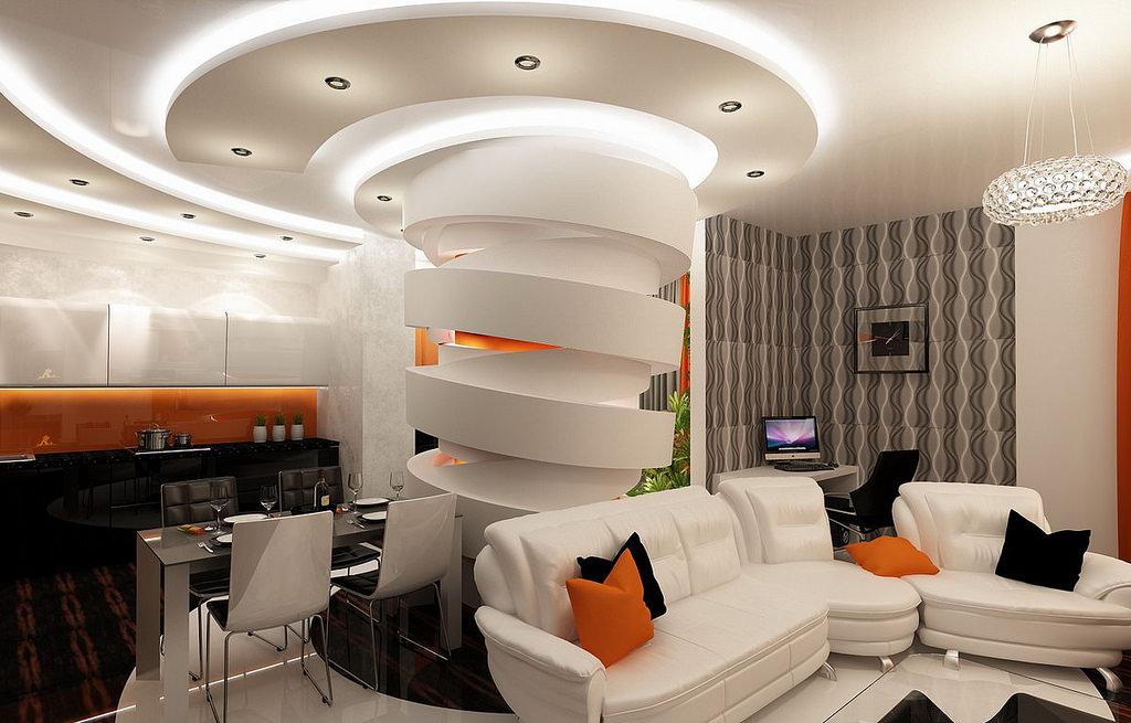 Оформление потолков в гостиной гипсокартоном фото